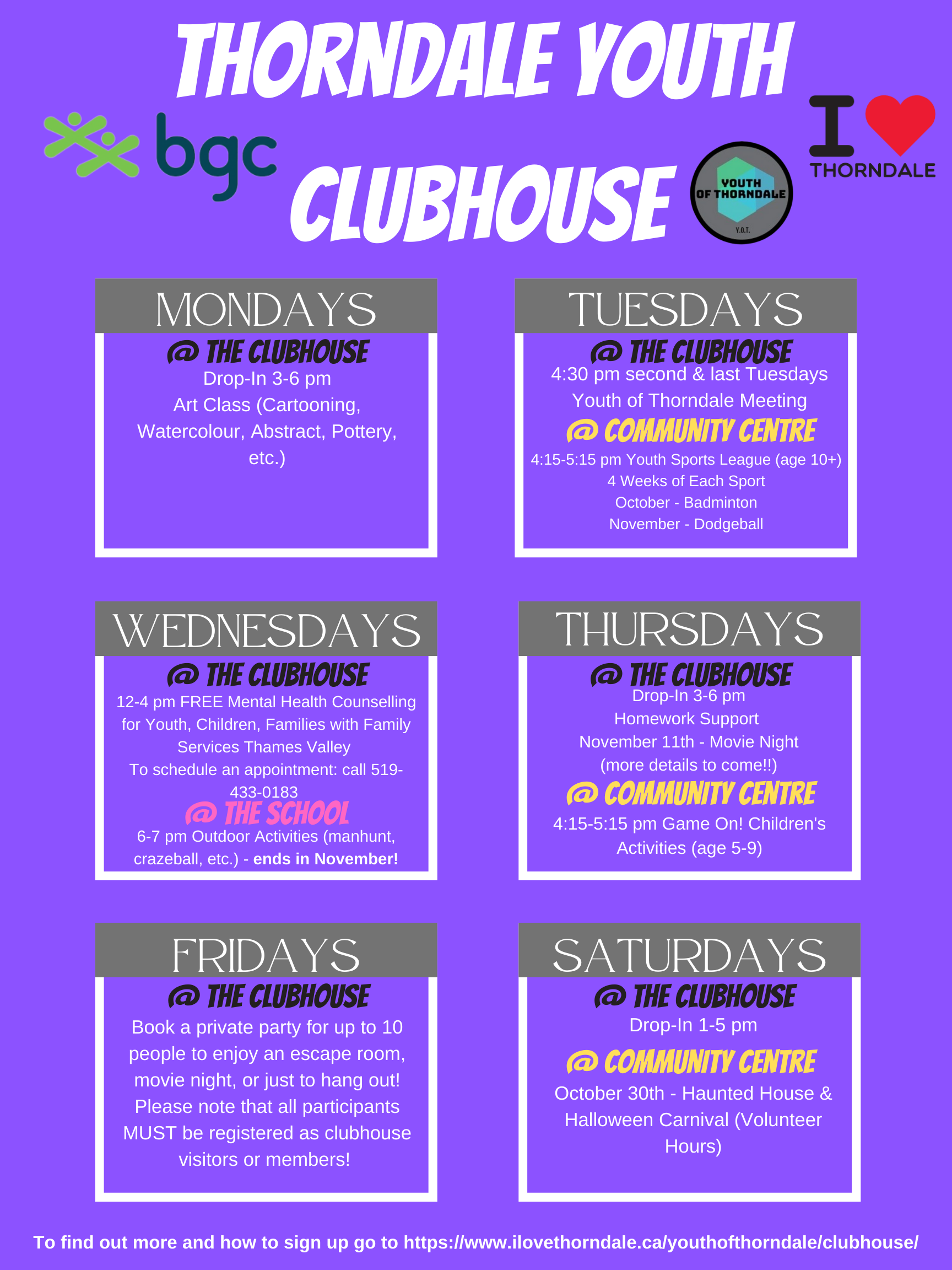 Thorndale Youth Clubhouse Weekly